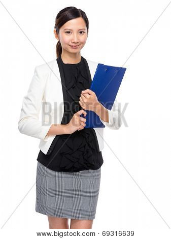 Business woman hold clipboard