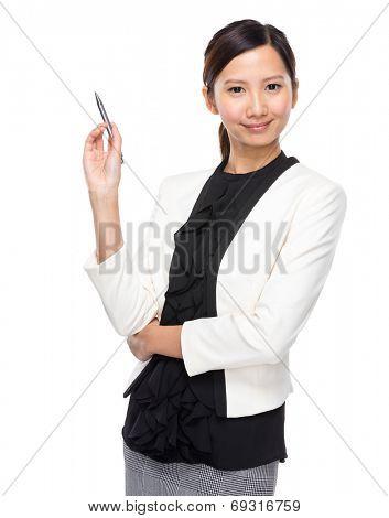Asian businesswoman pen up
