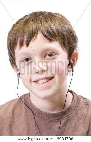 child listing with earbuds