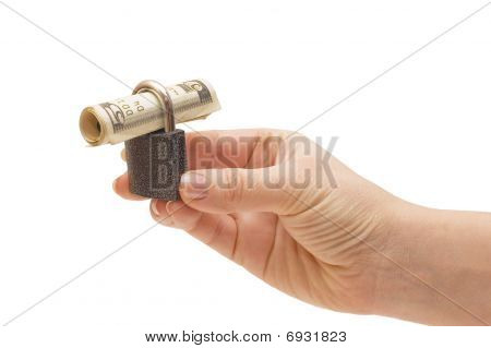 Lock In Hands Isolated On White Background