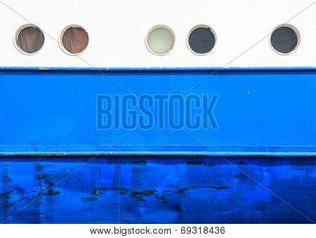 Portholes And Hull On White And Blue  Coaster Background