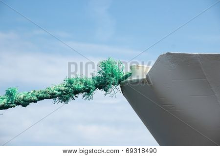 Green Worn Anchor Rope On Ship Bow