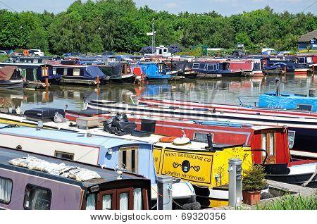 Narrowboats in Barton Marina.