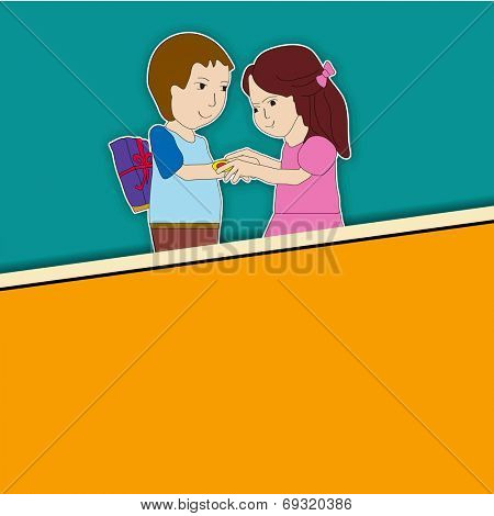 Raksha Bandhan celebrations greeting card design with cute little sister tying rakhi on his brother wrist and space for your message.