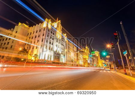 Light Trails On The Street In Shanghai