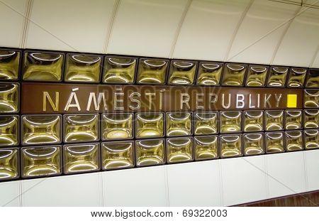 Prague underground subway. Namesty Republiky st.