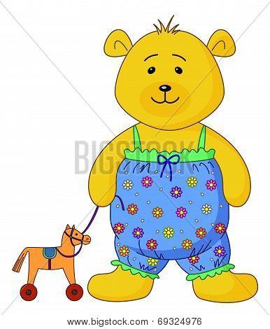 Teddy-bear with a toy horsy