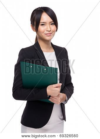 Asian businesswoman with clipboard
