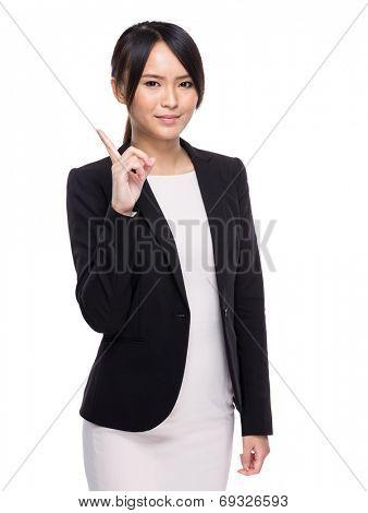 Asian businesswoman finger up