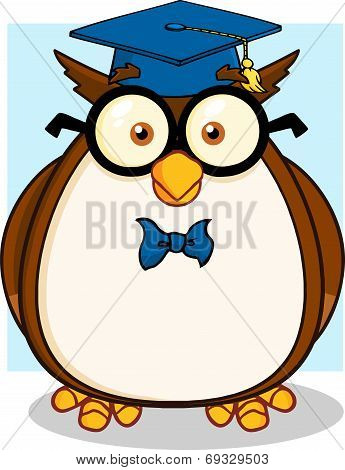 Wise Owl Teacher With Glasses And Graduate Cap