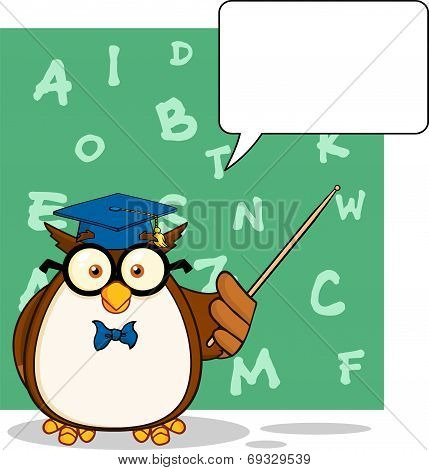 Wise Owl Teacher Cartoon Character With A Speech Bubble And Background