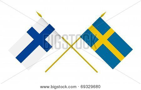 Flags, Finland And Sweden