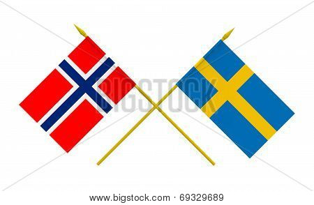 Flags, Norway And Sweden