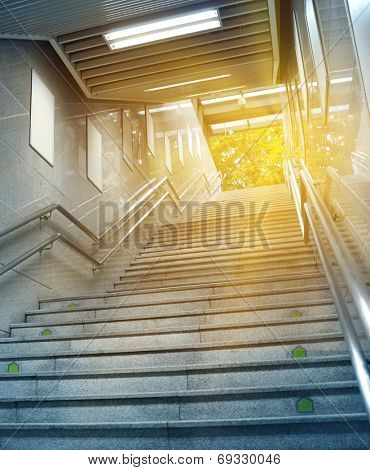 Stairs at a Subway Station