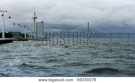 Cable Car, Vasco Da Gama Bridge And Torre Vasco Da Gama, Lisbon, Portugal