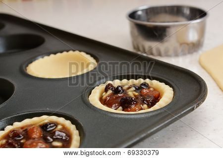 Closeup Of Pastry Case Filled With Traditional Mincemeat