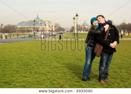 Happy Romantic Couple In Paris At The Esplanade Des Invalides