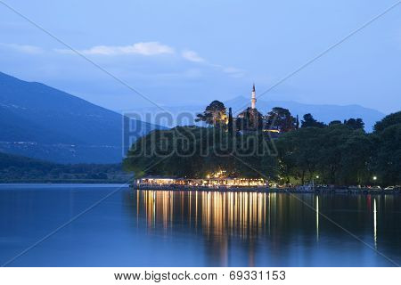 Ioannina city in Greece. The lake view.