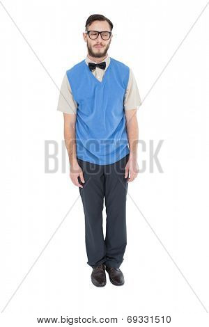 Geeky hipster wearing sweater vest on white background