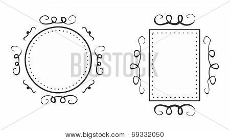 Hand drawn vector black decorative frames isolated on white background