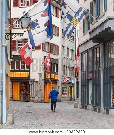 Zurich, A Person With An Alphorn In The Old Town