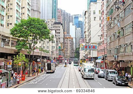 Unidentified People Are Walking On The Street In Hong Kong