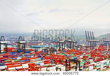 Busy Port In The Morning In Hong Kong From Bird View