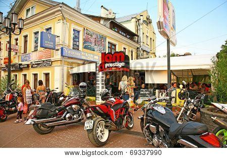 Biker Party In The Legendary Cafe In Nizhny Novgorod