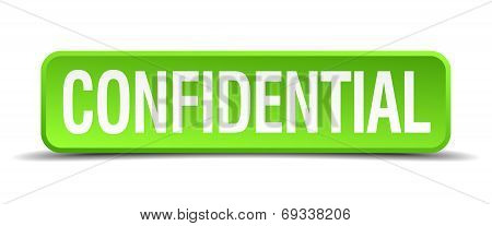 Confidential Green 3D Realistic Square Isolated Button