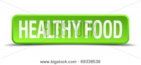 Healthy Food Green 3D Realistic Square Isolated Button