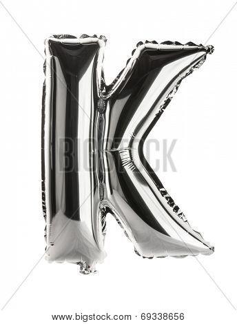 Chrome silver balloon font part of full set upper case letters, K