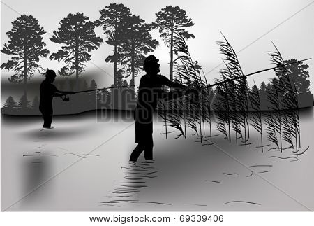 illustration with fisherman silhouettes in rush