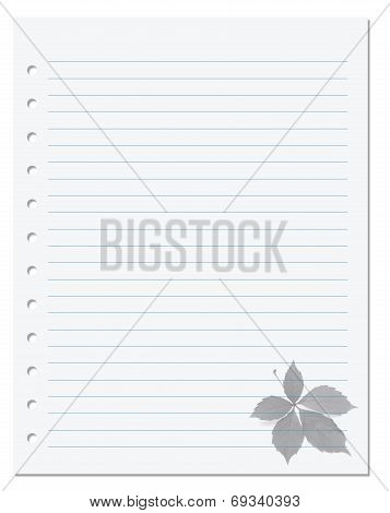 Notebook Paper With Virginia Creeper Leaf At Background
