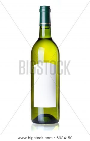 Wine Collection - White Wine In Green Bottle With Blank Label