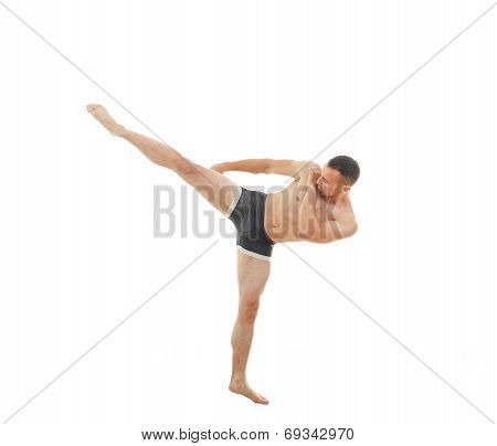 Kick By Professional Boxer Fighter Standing In Fight Position