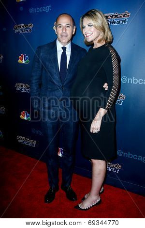 NEW YORK-JUL 30: Today Show hosts Matt Lauer (L) and Savannah Guthrie attend the 'America's Got Talent' post show red carpet at Radio City Music Hall on July 30, 2014 in New York City.
