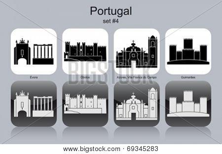Landmarks of Portugal. Set of monochrome icons. Editable vector illustration.