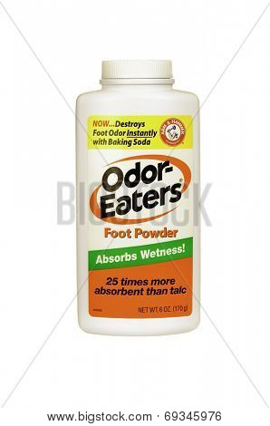 Hayward, CA - July 31, 2014: 4 oz spray can of Odor-Eaters Foot powder by Arm & Hammer
