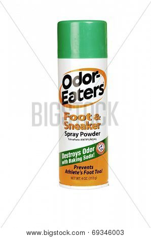 Hayward, CA - July 31, 2014: 4 oz spray can of Odor-Eaters Foot & Sneakers anti-fungal spray