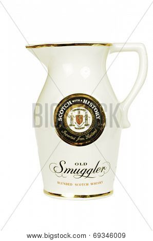 Hayward, CA - July 30, 2014: Water jug from Old Smuggler imported Scotch Whisky