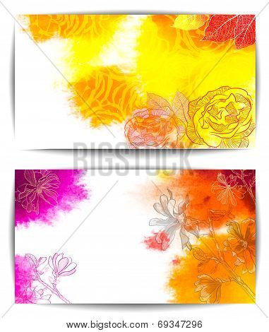 Watercolor banner, abstract hand drawn flowers