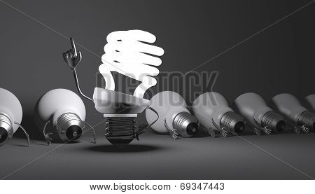 Spiral Light Bulb Character Standing And Tungsten Ones Lying