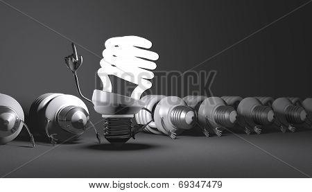 Spiral Light Bulb Character Standing Among Many Lying Ones