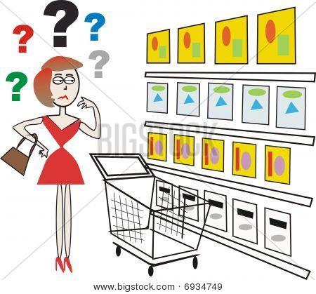 Supermarket shopping cartoon