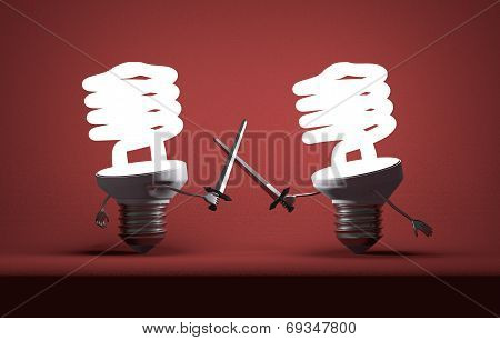 Glowing Spiral Light Bulbs Fighting Duel With Swords