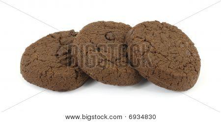Three double chocolate sugar free cookies