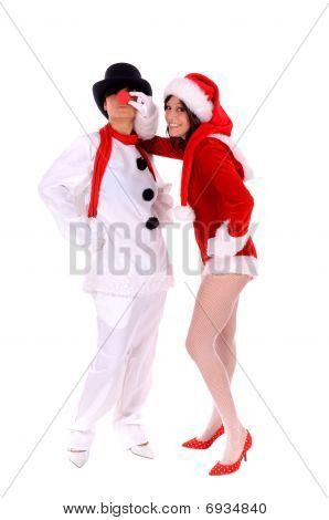 Schneemann und Santa claus