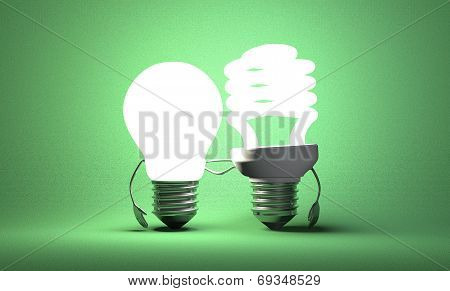 Light Bulb Characters With Their Arms Around Each Other