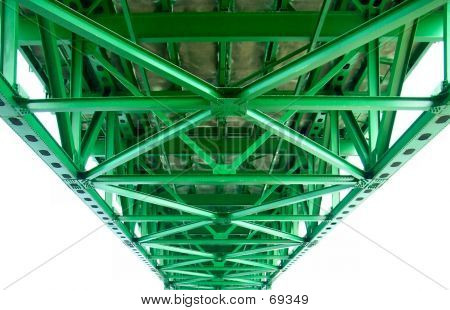 Girders Under The Mackinac Bridge In Michigan