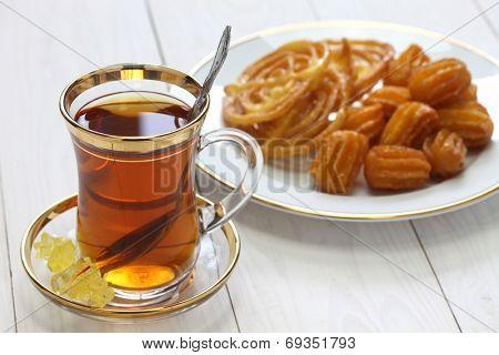 iranian tea and sweets, zoolbia & bamieh